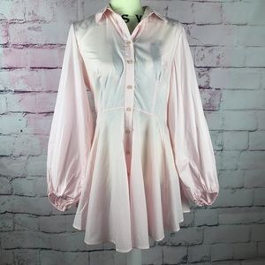 FREE PEOPLE Soft Pink Long Sleeve Button Up Dress